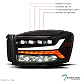 Topline Autopart Black Housing Full LED Sequential Quad Projector Headlights Signal Lamps Amber Reflector nb For 06-08 Dodge Ram 1500/06-09 2500 3500 Pickup