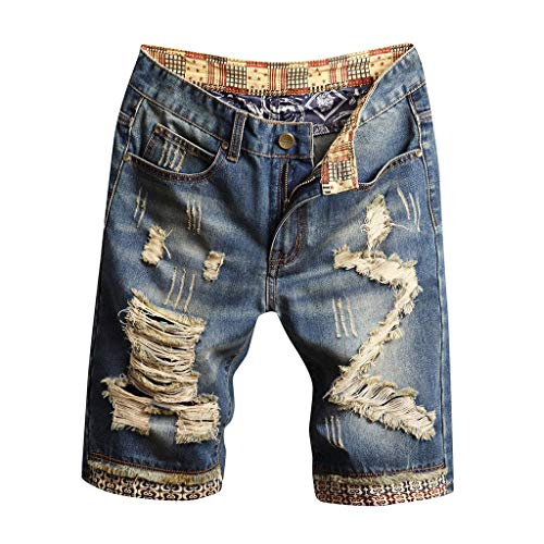 terbklf Denim Shorts for Men Ripped Men's Fashion Ripped Distressed Straight Fit Denim Shorts with Hole