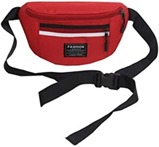 YWSCXMY-AU Fashion Women Waterproof Nylon Fanny Pack Zipper Ladie Chest Handbags Travel Phone Anti-Theft Bags (Color : Red)