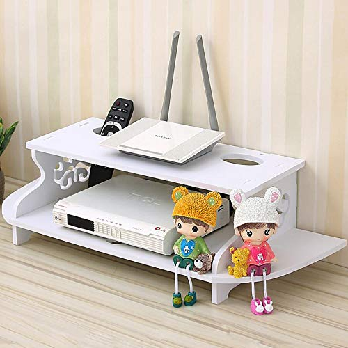 HAI+ Floating TV Shelf Wall Mounted Media Console, Router DVD Shelves, for Xbox One/PS4/Cable Box/DVD Players/Game Console Streaming Media Equipment Audio-Video Dining Features Kitchen Shelving