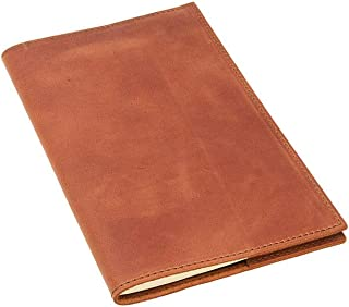 Leather Journal Refillable with Lined Pages for Man and Woman Comes olpr. Notebook 5 x 8.25 Handmade in USA from Top-Grain Leather of Chestnut Color fits Moleskine Cahier Journal