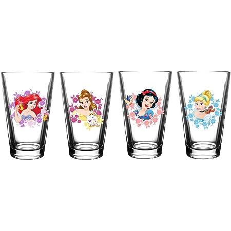 Disney Princess Glass Drinking Glasses Set Of 2 Tumbler Gift Novelty Brand New