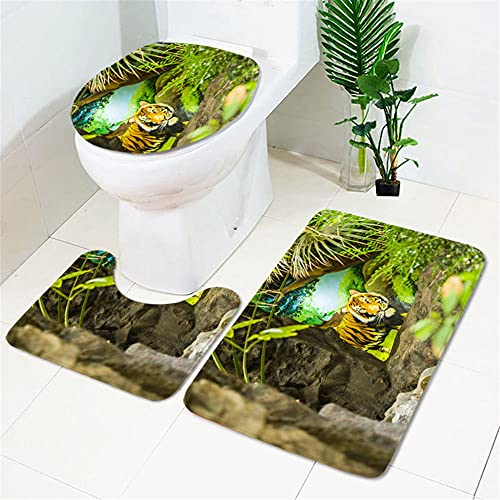 IRCATH Tigre Amarillo Patrón Animal Impresión 3D Moda Cuarto de baño Creativo Decoración de la decoración de Tres Piezas Alfombrilla de baño Antideslizante-C4 Suave cálido Hermoso Antideslizante de a