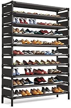 Tribesigns 10 Tiers Shoe Rack Large Shoe Organizer Big Shoe Shelf for 50 Pairs Space Saving Closet Shoe Organizer Tall Shoe Shelf