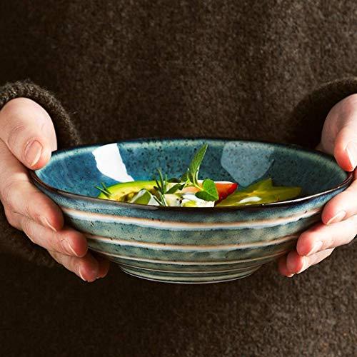 YAeele Tazón Creativo Irregular Ensalada de cerámica tazón de 6,8 Pulgadas tazón de Sopa de Frutas hogar Postre Cuenco de Rayas Retro Cubiertos