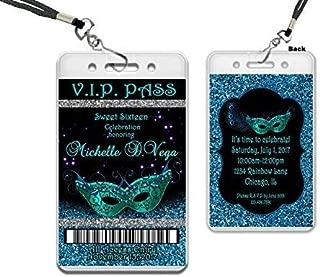 Masquerade VIP Pass Invitations Sweet 16 Blue Glitter Peacock Mask