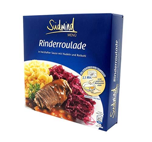 Herzhafte Rinderroulade in kräftiger Sauce mit Nudeln und Rotkohl – Fertiggerichte für die...