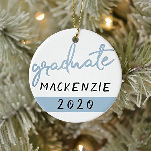 Personalized Light Blue Graduate Cool Brush Script On White Ornament 3 Ihch Ceramic Christmas Ornament