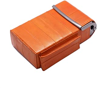 Automatic Rising Genuine Eel Skin Leather Sliding Cigarette Case