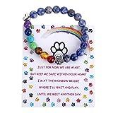 Pet Memorial Gifts,Rainbow Bridge Bracelet for Beloved Dog Cat,8MM Mixed Color Bead 7 Chakra Pet Memorial Bracelet for Women Men Who Loss of Pets,Pet Sympathy Gift