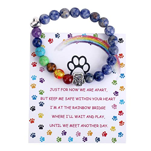 Unijew Pet Memorial Gifts,Rainbow Bridge Bracelet for Beloved Dog Cat,8MM Mixed Color Bead 7 Chakra Pet Memorial Bracelet for Women Men Who Loss of Pets,Pet Sympathy Gift