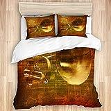 Juego de funda nórdica de 3 piezas, fondo de sonido vintage marrón grunge abstracto con trompeta, juegos de fundas de edredón de microfibra de lujo para dormitorio, colcha con cremallera con 2 fundas