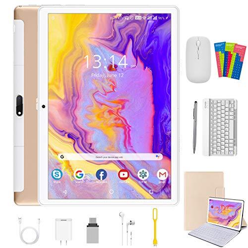 Tablet 10.1 Pulgadas 4G Android 10.1 Quad Core Google GMS DUODUOGO P6 Tablet Baratas 4GB RAM 64GB ROM/128GB Escalables 8000mAh Dual SIM/Cámara Tablet PC Netfilx OTG (Estándar + Teclado y Mouse, Oro)
