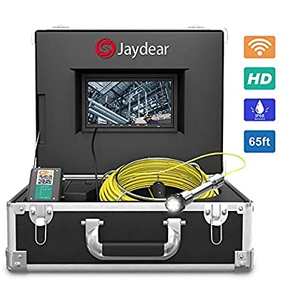 """Pipe Inspection Camera,65ft/20M Sewer Camera 7""""HD Monitor Wireless WiFi Drain Pipe Camera for Android/iOS,DVR Recorder Live Video, Waterproof IP68 Snake Camera for Plumbers, Inspectors, Engineers"""