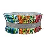 Floral Bliss - Rollo de jalea de 42 piezas – Tejido acolchado Patchwork Jelly Roll Bundle – por Quilting Treasures – Paquete de 42 piezas cada una de 6 cm x 110 cm (6,3 cm x 111,8 cm aprox.)