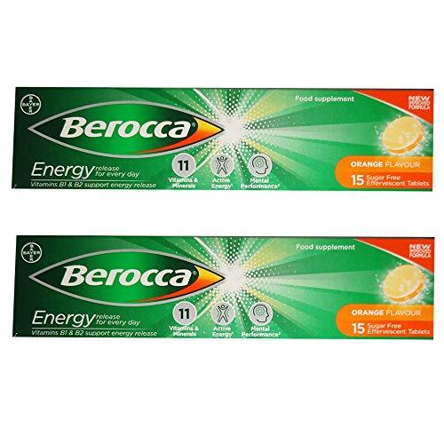 Energy Tablets Orange Flavour Vitamin Dissolvable Effervescent 2 x 15
