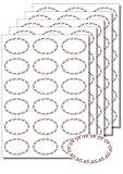 Etichette autoadesive di forma ovale, per stampa e scrittura, rimozione facile, per vasetti di marmellata e contenitori alimentari, colore rosso, formato DIN A4, 90 unità