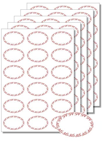 90 Etiketten oval Ornamente rot zum Bedrucken, Beschriften, DIN A4, selbstklebend, Marmeladenetiketten Haushaltsetiketten