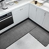 Color&Geometry Tappetino da cucina 44x75 cm + 44x200 cm,tappeto da cucina antiscivolo, lavabile in lavatrice, tappetini da cucina facili da pulire, tappetini d'ingresso per aree esterne (Grigio)
