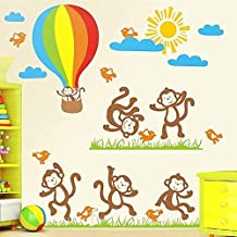 PremiumWallArts Dancing Monkeys and Chirping Birds in The Butterfly Garden Wishing Luck on Hot Air Balloon on a Sunny Day Under Cool Blue Clouds (140 cm * 80 cm, Self-Adhesive & Safe Sticker)