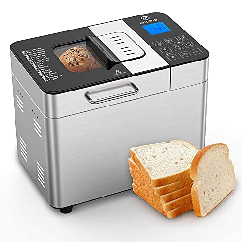 MOOSOO Bread Maker with Automatic Fruit/Nut Dispenser, 2LB 18-in-1 Stainless Steel Bread Machine, Programmable Digital Breadmaker, with Bread Homemade & Ice Cream Made Function, 8 Deluxe Accessories (Renewed)