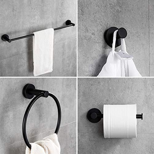 Devanzu Bathroom Hardware with Bath Towel Hook Toilet Paper Holder Towel Holder and Towel Bar - Set of 4-Piece (Black)