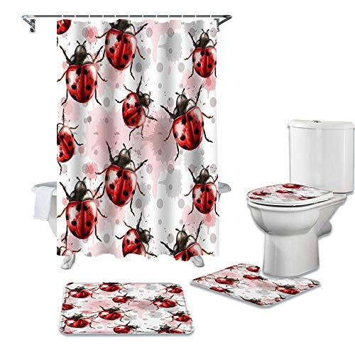 HGFHKL Aquarell Tier Marienkäfer Duschvorhang Sets rutschfeste Teppiche Toilettendeckelabdeckung & Badematte Badvorhänge Set4 Stück/Set