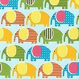 Fat Quartal Urban Zoologie Elefanten auf blau, Baumwolle,
