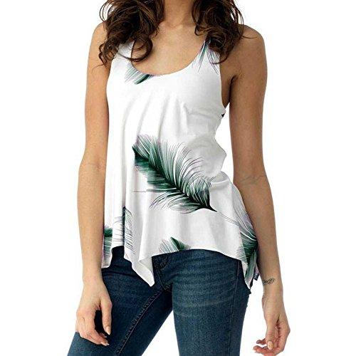 UOFOCO Women Blouse Plus Size Shirt Print Sleeveless Bandage Tank Vest Pullover -