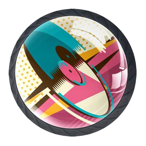 OLEEKA Tirador de manijas de cajón Perillas Decorativas del gabinete del cajón Manija del cajón del tocador 4 Piezas,Discos de Vinilo