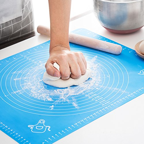 Silicone Baking Mat for Pastry Rolling with Measurements, Liner Heat Resistance Table Placemat Pad Pastry Board, Reusable Non-Stick Silicone Baking Mat for Housewife, Cooking Enthusiasts