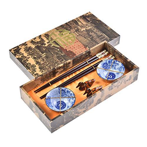 Quantum Abacus Pregiato Set di Bacchette Peonia 2 Bacchette cesellate in Legno, 2 poggiabacchette, 2 Ciotole in Ceramica, in Confezione Regalo, MOD. I_S2-B-W-11
