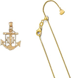 14K Yellow Gold Mariners Cross/Crucifix Pendant on an Adjustable Chain Necklace