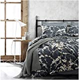 Eikei Japanese Oriental Style Cherry Red Blossom Floral Branches Print Duvet Quilt Cover 300tc Cotton Bedding 3 Piece Set (King, Charcoal)