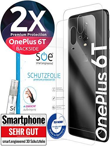 [2 stuks] 3D beschermfolie voor de achterkant compatibel met OnePlus 6T - [Made in Germany - TÜV Nord] - Transparant - Zelfherstellend - geen glas maar pantserfolie TPU - Back - Helder - achter