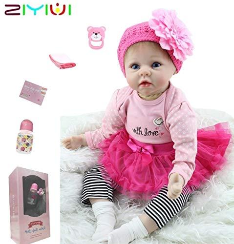 ZIYIUI Hecho a Mano 55cm 22 Pulgadas Reborn Bebe Muñecas Realista Vinilo Silicona Girl Recién Nacido Baby Dolls Cumpleaños Regalos Navidad Juguetes