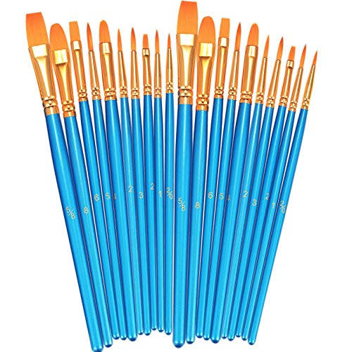 BOSOBO Paint Brushes Set, 2 Pack 20 Pcs Round Pointed Tip Paintbrushes Nylon Hair Artist Acrylic Paint Brushes for Acrylic Oil Watercolor, Face Nail Art, Miniature Detailing and Rock Painting, Blue