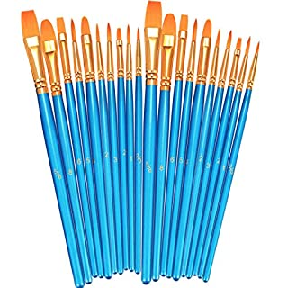 BOSOBO Paint Brushes Set, 2 Pack 20 Pcs Round Pointed Tip Paintbrushes Nylon Hair Artist Acrylic Paint Brushes for Acrylic Oil Watercolor, Face Nail Art, Miniature Detailing and Rock Painting, Blue (B07GH7WGC3) | Amazon price tracker / tracking, Amazon price history charts, Amazon price watches, Amazon price drop alerts