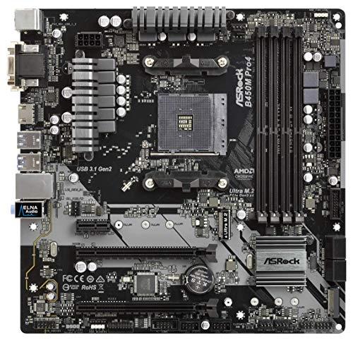 MB ASRock AM4 m-ATX D-Sub/HDMI/DVI DDR4 Retail - AMD Sockel AM4 (Ryzen) - Micro/Mini/Flex-ATX, B450M PRO4