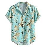 Yowablo Bluse Hawaiihemd Herren Kurzarm Hawaii-Print Mode Hemden Freizeithemden Kurzarm Top (3XL,33Blau)
