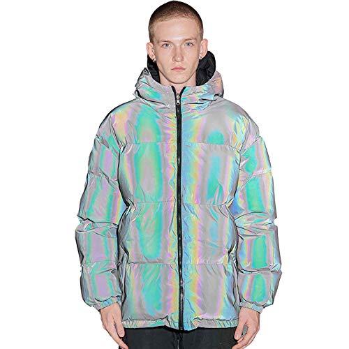 Chaqueta reflectante de doble cara acolchada de algodón para hombre, brillante, gruesa y suelta, chaqueta cálida para hombres y mujeres, talla M