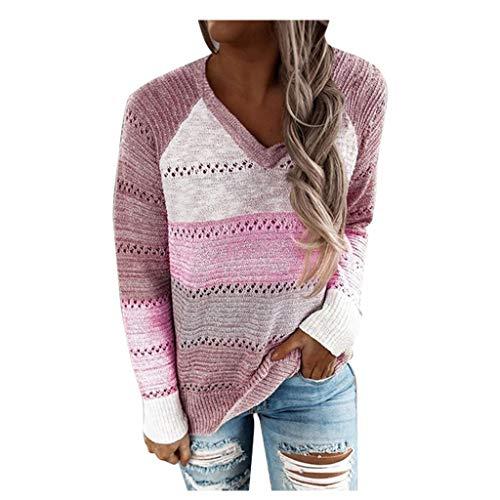 Blingko Sudadera Con Capucha Asequible Camisa De Mujer Con Cuello En V Otoño De 2021 Nuevo Suéter De Gran Tamaño Color De Costura Tumblr Jersey De Manga Larga Estampado De Rayas Camisa Casual De Moda