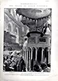 "ENGRAVING: ""Death of Queen Victoria: The Memorial Service at St. Paul s Cathedral""...engraving from the IIlustrated London News: February 2, 1901"