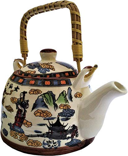 Beautifully Ted Ceramic Kettle Tea Coffee Pot 1000 ml with Steel Strainer