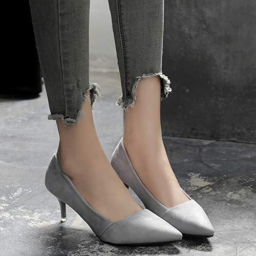 HRCxue Pumps Graue Spitze Stiletto Heels Mode flachen Mund Damenschuhe Einzelabsatzschuhe Wilde Arbeitsschuhe, 37, grau