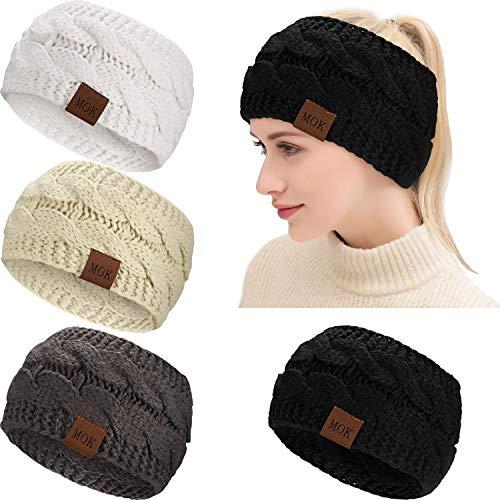 4 Stück Winter Frauen Ohrwärmer Stirnbänder Stricken Dick Warm Stirnband Kabel Kopfwickel (Schwarz, Weiß, Dunkelgrau, Kamel)