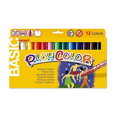 Playcolor Basic pocket - Tempera solida - 12 Colores surtidos - 10521