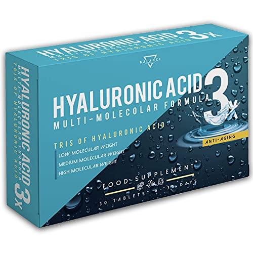 ACIDO IALURONICO | Acido Ialuronico Compresse | Formula Multimolecolare ad Alti Dosaggi con Acido Ialuronico ad Alto, Medio e Basso Peso Molecolare | 30 Capsule vegetali
