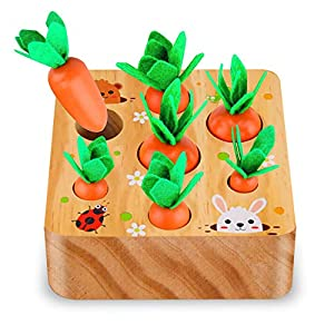 SKYFIELD Carrot Harvest Game Wooden Toy for Boys and Girls 1 2 3 Years Old, Shape Sorting Matching Puzzle Toy with 7 Sizes Carrots, Montessori Toy Gift for Toddlers (Carrot Harvest)