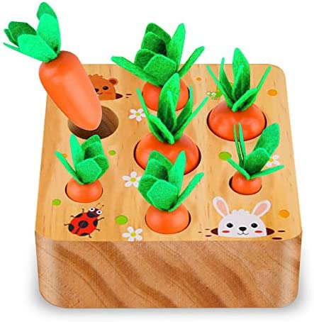 SKYFIELD Carrot Harvest Game Wooden Toy for Boys and Girls 1 2 3 Years Old Shape Sorting Matching product image